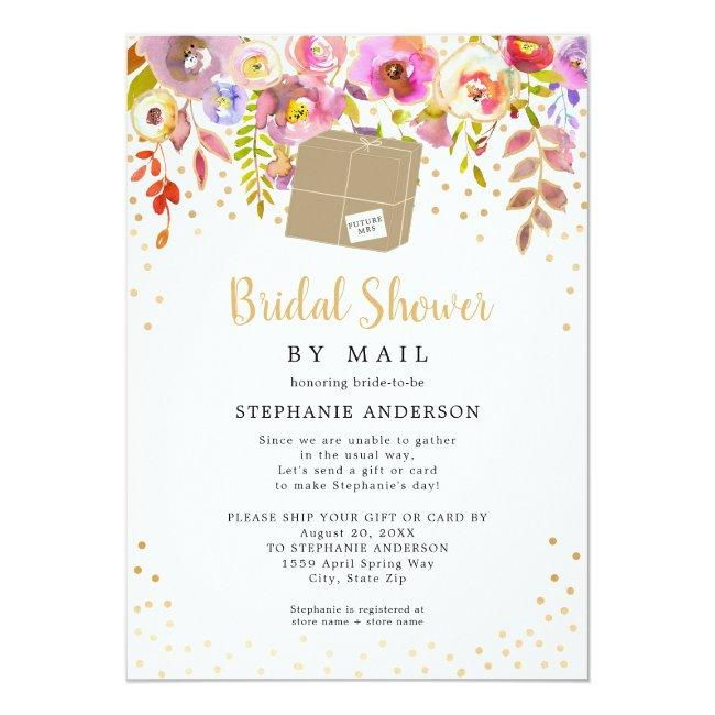 Pink Floral + Shipping Box Bridal Shower By Mail Invitation