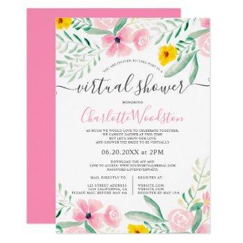 pink floral watercolor script virtual shower invitation