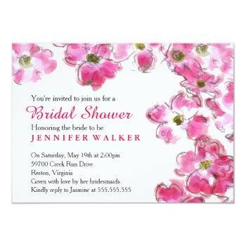 pink flower blossoms bridal wedding shower party invitation
