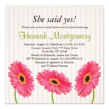 pink gerbera daisy bridal shower invitations