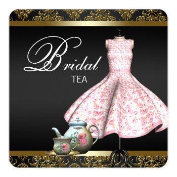 pink gold and black damask bridal tea party invitation