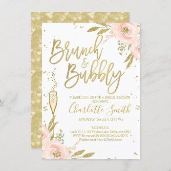 pink gold floral brunch bridal shower invitation