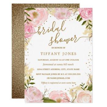 pink gold floral rose watercolor bridal shower invitation