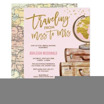 pink & gold floral travel bridal shower invitation