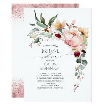 pink gold glitter floral elegant bridal shower invitation