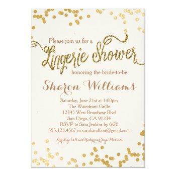 pink & gold glitter lingerie shower invitation