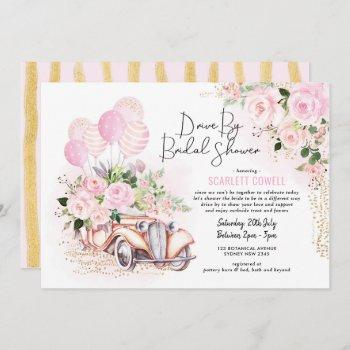 pink gold roses retro car drive by bridal shower invitation