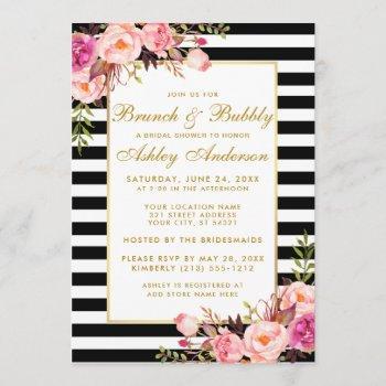 pink gold striped bridal shower brunch invite
