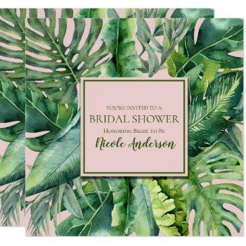 pink & green tropical leaves bridal shower invitation
