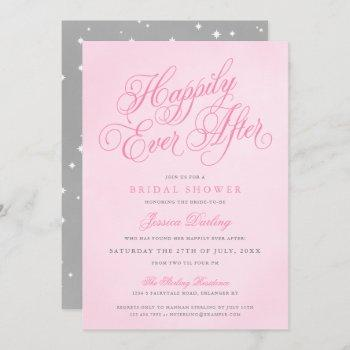 pink happily ever after bridal shower invitations