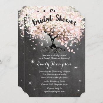 pink heart leaf tree bridal shower invite