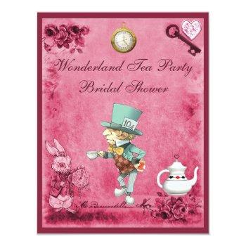 pink mad hatter wonderland tea party bridal shower invitation