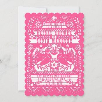 pink mexican fantail doves papel picado shower invitation