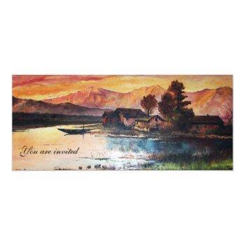 pink mountains lake alpine sunset landscape invitation