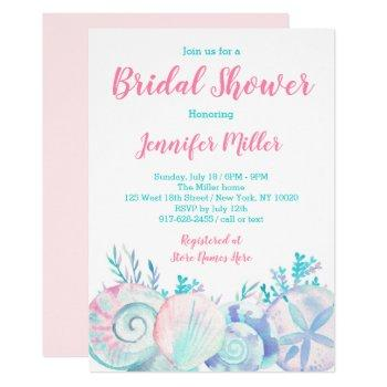 pink nautical beach bridal shower invitation