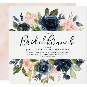 pink & navy blue watercolor flowers bridal shower invitation