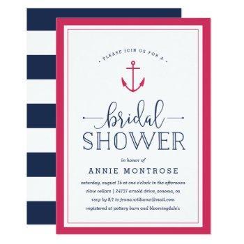 pink & navy nautical bridal shower invitation