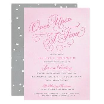 pink once upon a time bridal shower invitations