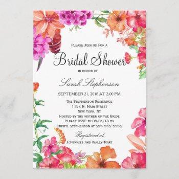 pink orange watercolor garden bridal shower invite