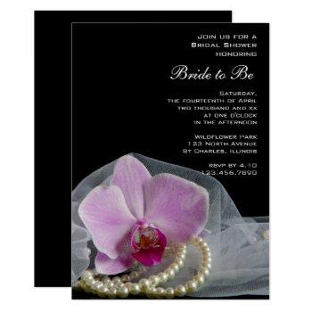 pink orchid and pearls on black bridal shower invitation