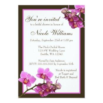 pink orchid flowers bridal shower invitation