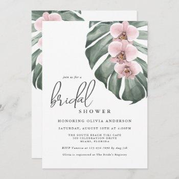pink orchids tropical paradise bridal shower invitation