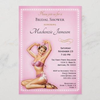 pink pin up bridal shower invitation