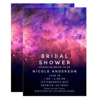 pink purple starry sky cosmic galaxy bridal shower invitation