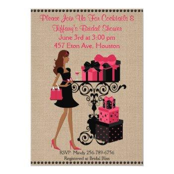 pink red cocktail keep calm bridal shower invite