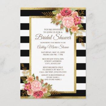 pink red floral black white stripes gold bridal invitation