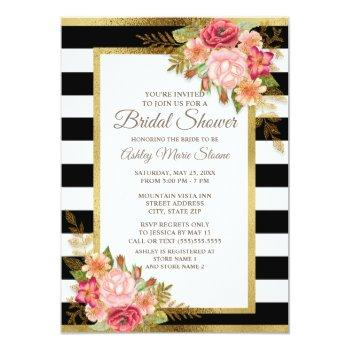 pink red floral black white stripes gold bridal invitation