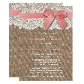 pink ribbon on burlap & lace bridal shower invitation
