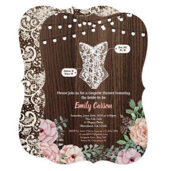 pink rose lingerie shower invitation rustic wood