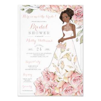 pink roses bride bridal shower invitation
