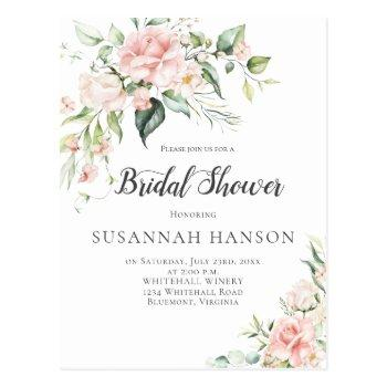 pink roses eucalyptus greenery bridal shower postcard