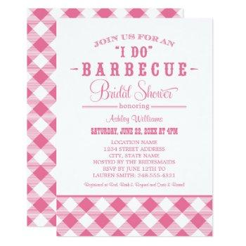 pink rustic i do bbq bridal shower invitation