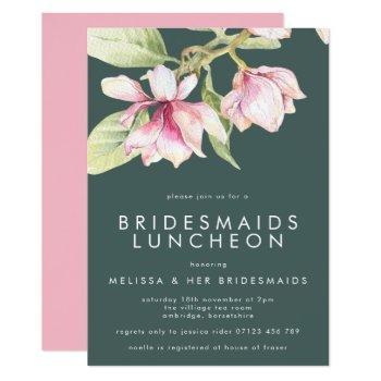 pink & sage watercolor floral bridesmaids luncheon invitation
