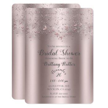 pink shimmer flutter butterfly bridal shower invitation