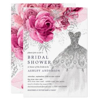 pink & silver floral wedding dress bridal shower invitation