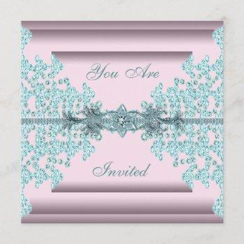 pink teal blue black tie party invitation