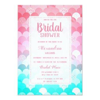 pink teal scallop mermaid gradient bridal shower invitation