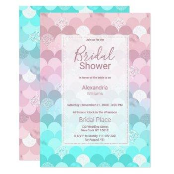 pink teal scallope mermaid gradient bridal shower invitation