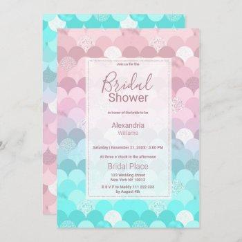 pink teal scallope mermaid gradient bridal shower invitation