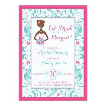 pink turquoise bride eat drink bridal shower invitation