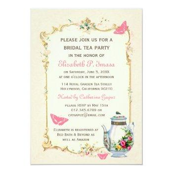 pink vintage french bridal tea party invitation
