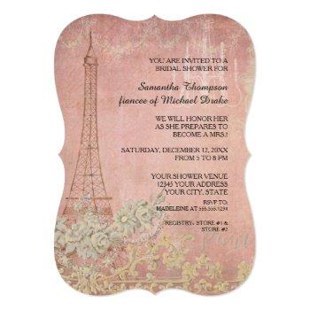 pink vintage paris parisian stylish bridal shower invitation