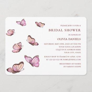 pink watercolor butterflies. elegant bridal shower invitation