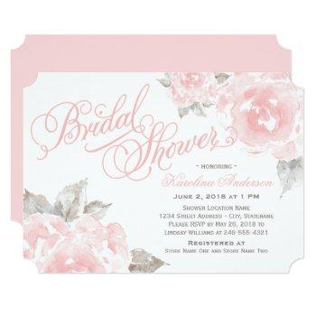 pink watercolor roses | elegant bridal shower invitation