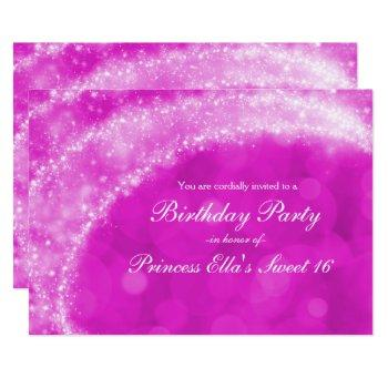 pink & white sparkle cinderella any event party invitation