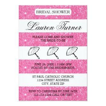 pink &white stripes - bridal shower invitation